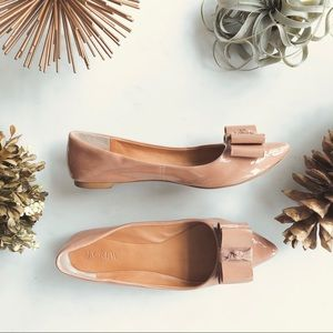 JCrew nude patent flats with bow